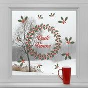 Elektrostatické vánoční samolepky Věnec a veselé Vánoce