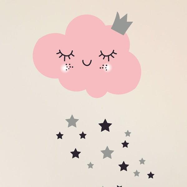 Sada samolepek na zeď Ambiance Pink Clound and Stars