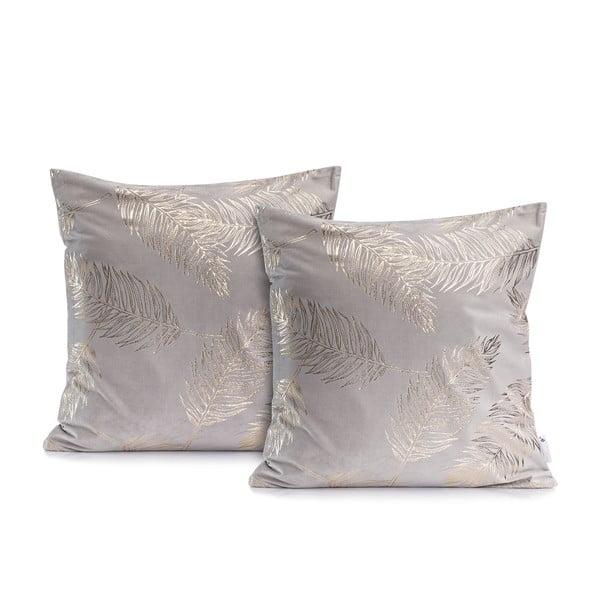 Sada 2 šedých povlaků na polštáře DecoKing Golden Leafes Silver, 45 x 45 cm