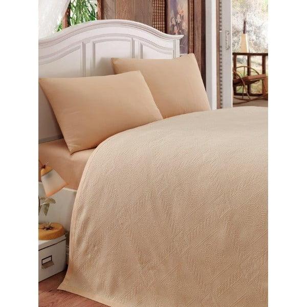 Sada přehozu přes postel, prostěradla a 2 povlaků Nostaji Beige, 200x235 cm