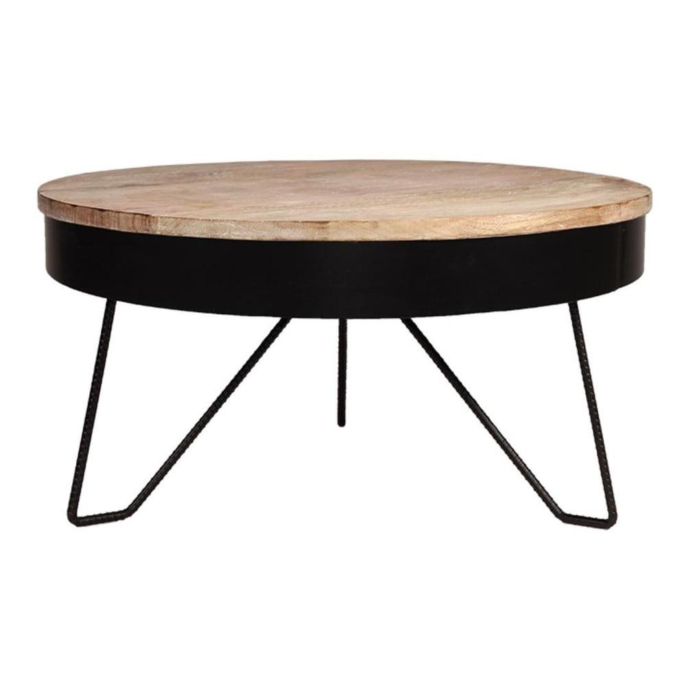 Černý odkládací stolek s deskou z mangového dřeva LABEL51 Saran, ⌀ 80 cm