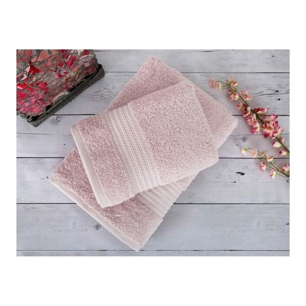 Pudrově růžový ručník Irya Home Egyptian Cotton, 50x90 cm