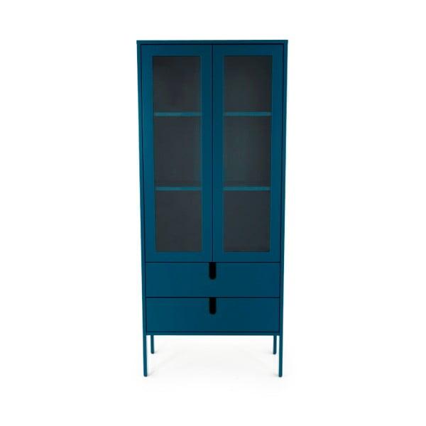 Vitrină Tenzo Uno, lățime 76 cm, albastru petrol