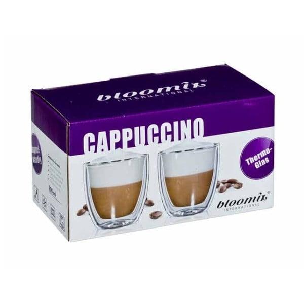 Sada 2 skleněných hrnků na cappuccino bloomix