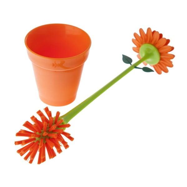 Štětka na sklenice Flower Power, oranžová