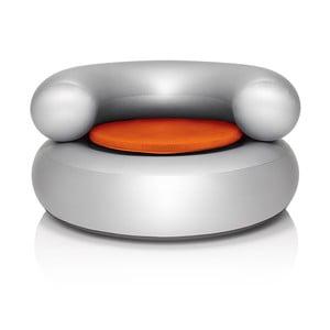 Fatboy nafukovací křeslo CH-AIR, stříbrné s oranžovým polštářem