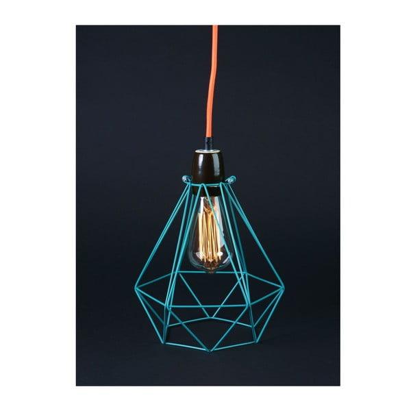 Světlo s modrým stínítkem a oranžovým kabelem Filament Style Diamond #1
