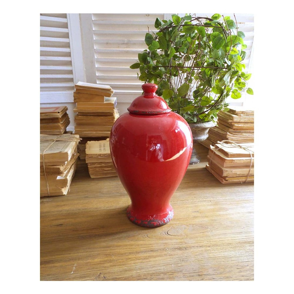 Červená keramická nádoba s víkem Orchidea Milano, 30 cm