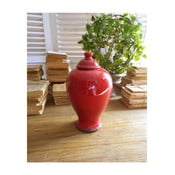 Červená keramická nádoba s víkem Orchidea Milano, výška 30 cm