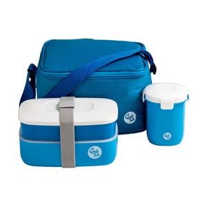 Set tmavě modrého svačinového boxu a tašky Premier Housewares Grub Tub,21x13cm