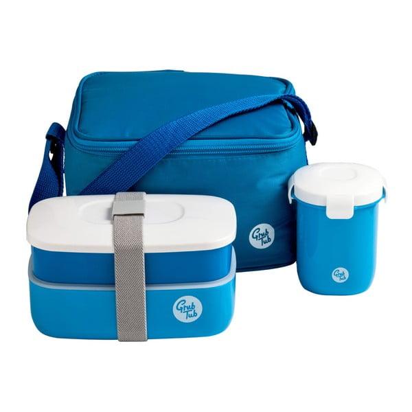 Ciemnoniebieski pojemnik na przekąskę, kubek i torba Premier Housewares Grub Tub, 21x13 cm