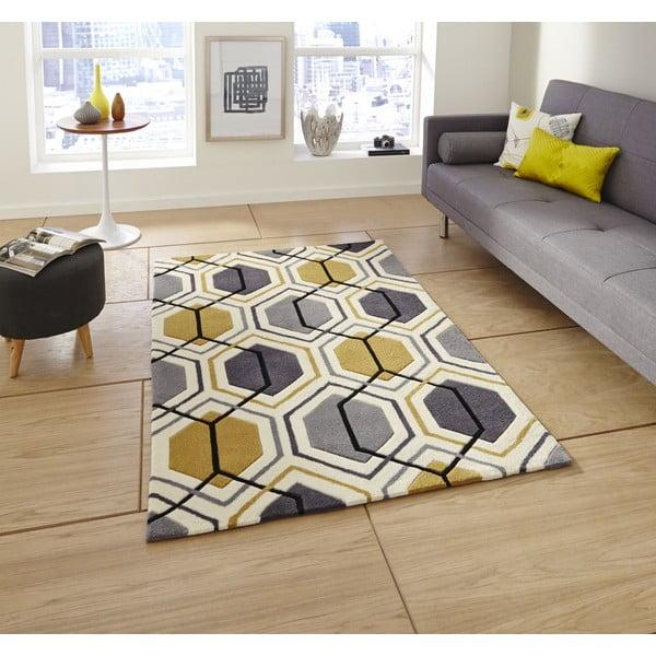 Koberec Flat 90x150 cm, šedožlutý