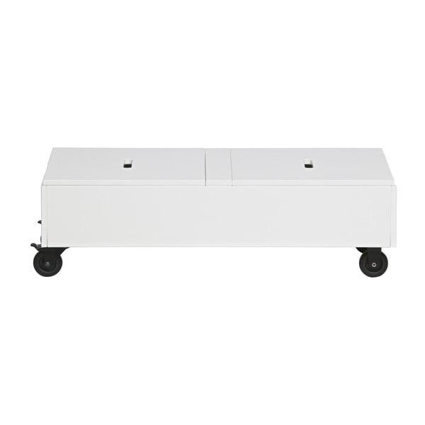 Bílý pojízdný úložný box z borovicového dřeva De Eekhoorn Elon