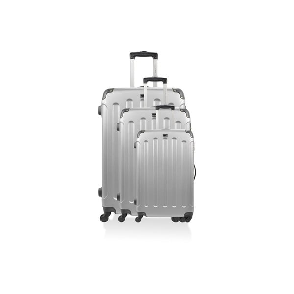 Sada 3 stříbrných cestovních kufrů na kolečkách Bluestar Lopez