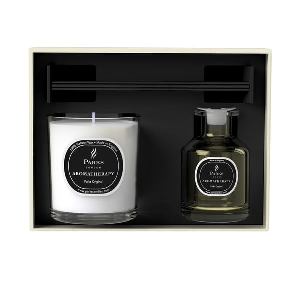 Podarunkowy zestaw świeczki i dyfuzoru Aromatherapy, zapach Parks Original
