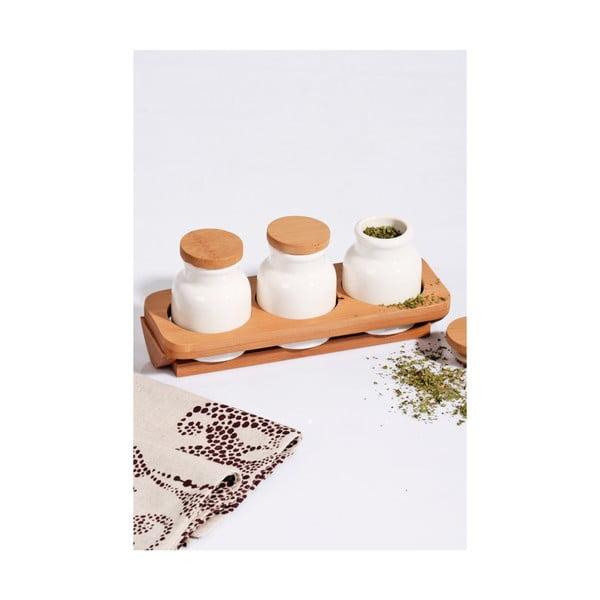 Kosova porcelánedény, 3 darabos szett bambusz tartóval és fedővel