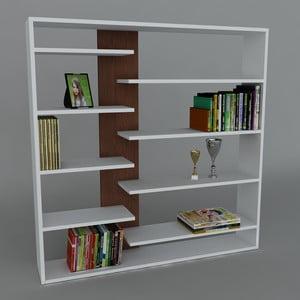 Knihovna Handy Book White/Wenge, 22x125x126 cm