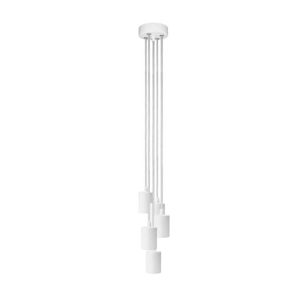 Závěsné svítidlo s 5 bílými kabely a bílou objímkou Bulb Attack Cero Group