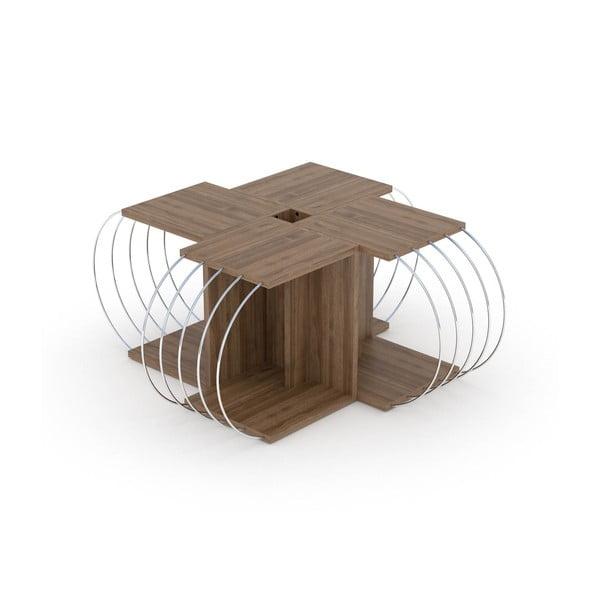 4-częściowy stolik modułowy z dekorem drewna orzechowego Rachel