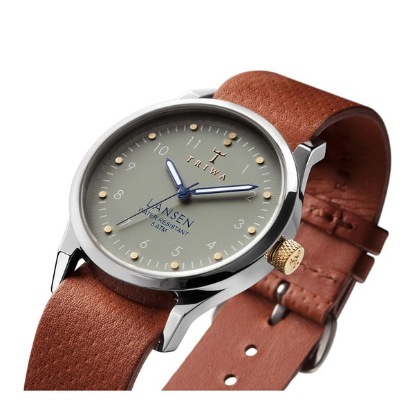 Unisex hodinky s hnědým koženým řemínkem Triwa Dawn Lansen
