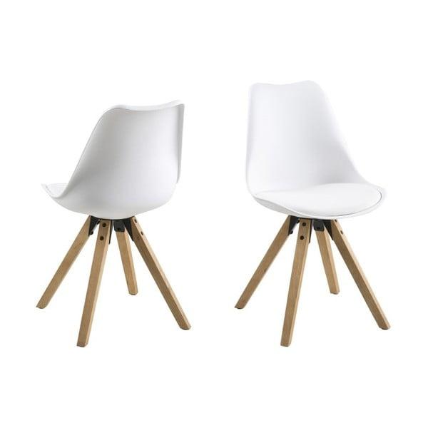Jídelní židle Dima, bílá a dřevěné nohy