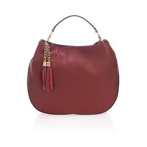Vínově červená kožená kabelka Lisa Minardi Tuda