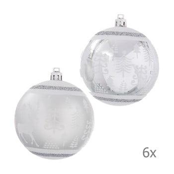Set 6 decorațiuni de Crăciun Unimasa Deer, argintiu imagine