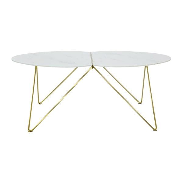 Konferenční stolek s dekorem mramoru a podnožím ve zlaté barvě RGE Ant