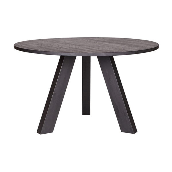 Rhonda fekete tölgyfa étkezőasztal, ⌀ 129 cm - WOOOD