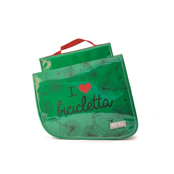 Dvojitá taška na kolo I ♥ Bicicleta, zelená