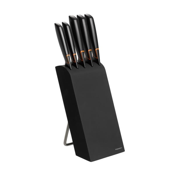 Sada 5 nožov v čiernom stojane Fiskars