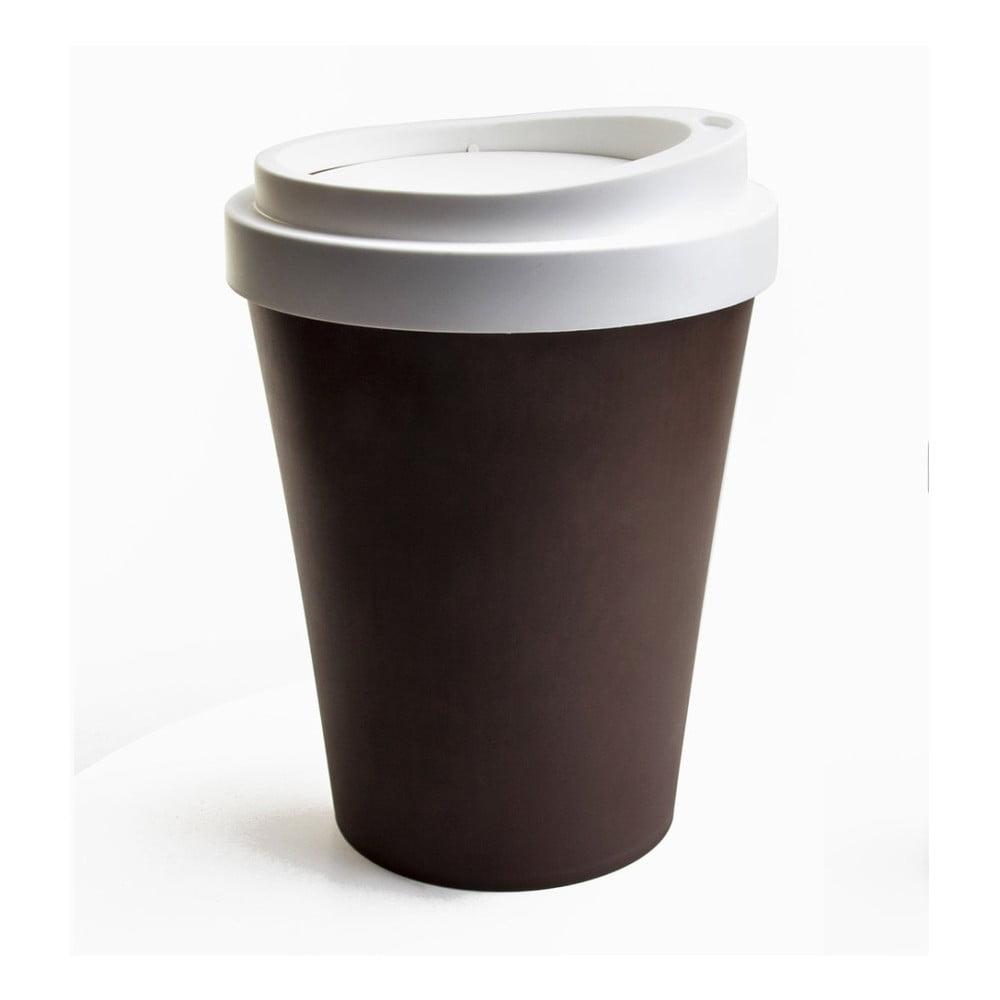 Hnědo-bílý odpadková koš Qualy&CO Coffee Bin