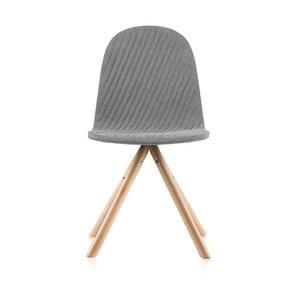 Šedá židle s přírodními nohami IKERMannequinStripe