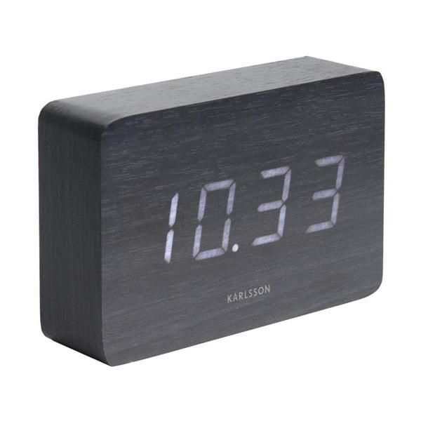 Černý budík v dřevěném dekoru Karlsson Cube, 15 x 10 cm