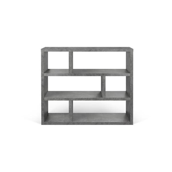 Sivá knižnica v betónovom dekore TemaHome Dublin, výška 105 cm