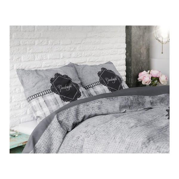 Šedé povlečení z mikroperkálu na dvoulůžko Sleeptime Goodnight,240x220cm
