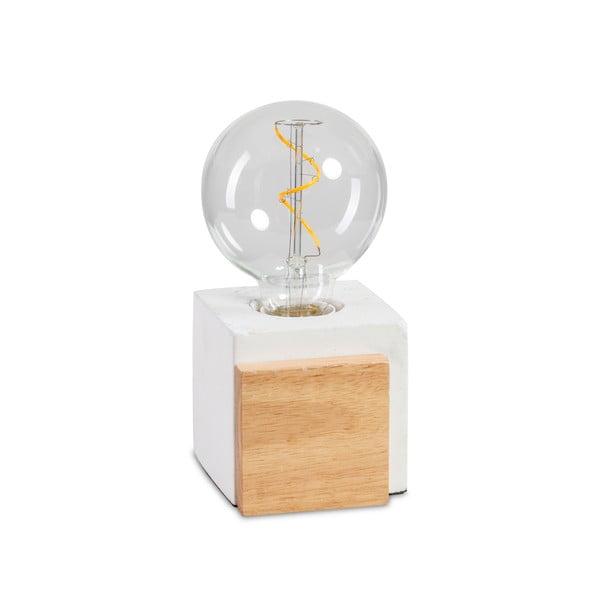 Lampa stołowa z betonu i drewna ETH Cube