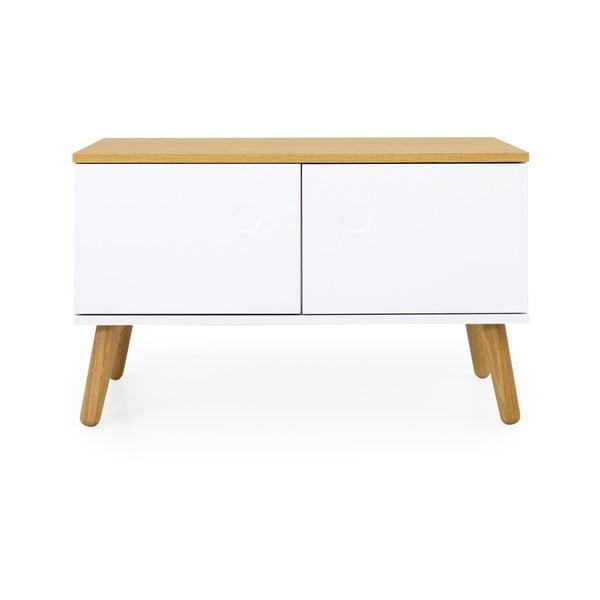 Bílá úložná lavice s nohami z dubového dřeva Tenzo Dot