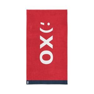 Červená bavlněná osuška Seahorse XO, 180x100cm