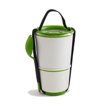 Bol pentru gustări Black + Blum Lunch Pot, alb - verde imagine