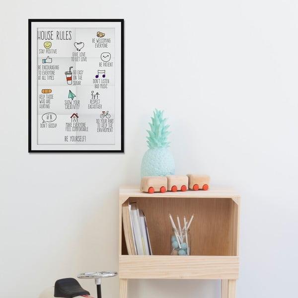 Zarámovaný obraz House Rules, 50x70 cm