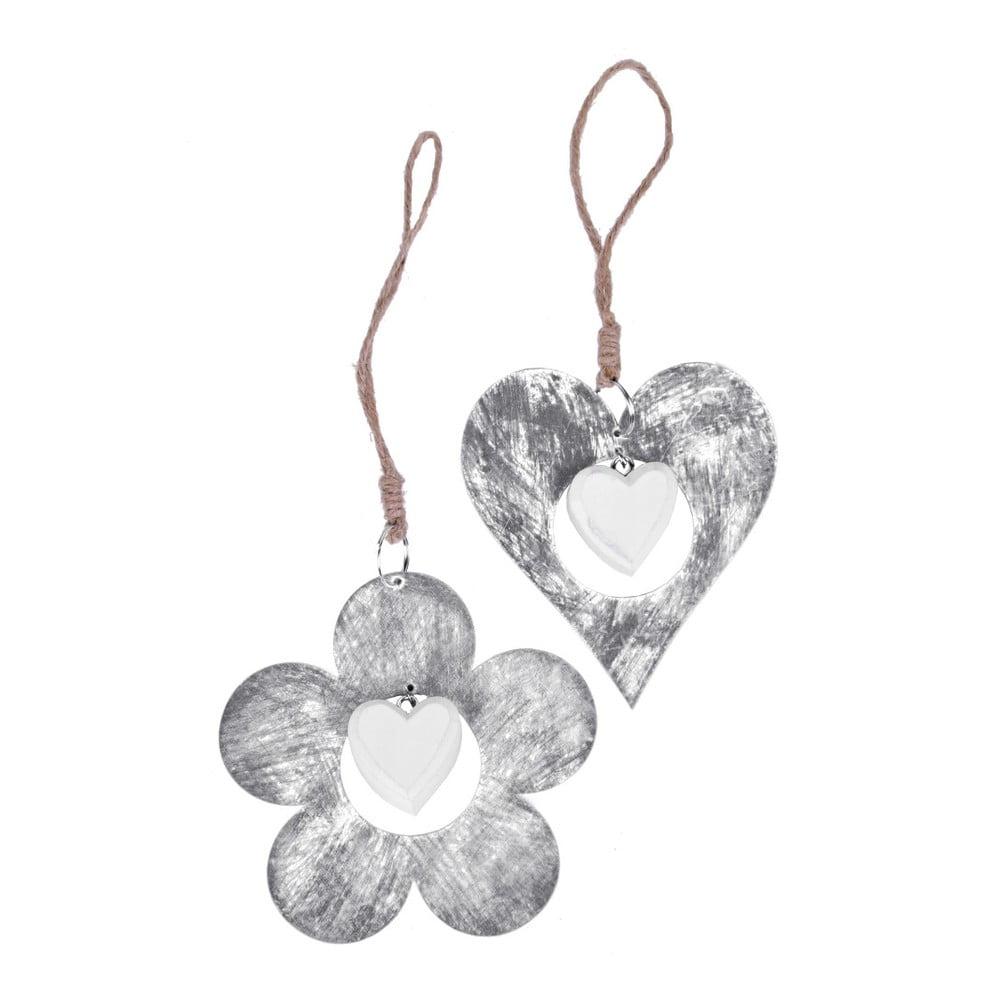 Sada 2 závěsných dekorací v motivu srdce a květiny Ego Dekor, ⌀ 11 cm