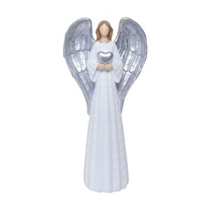 Dekorativní soška v bílé a stříbrné barvě Ewax Angelito, výška54,2cm