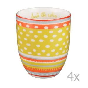 Sada 4 porcelánových šálků s puntíky Oilily 200 ml, žlutá