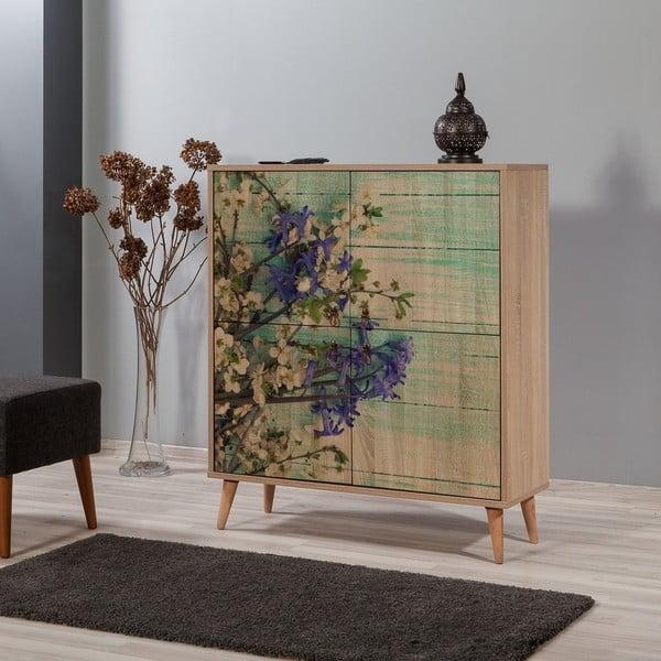 Dřevěná skříň Ananias Flower, výška 111cm