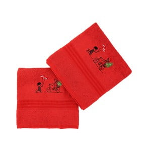 Sada 2 červených bavlněných ručníků Bisiklet Red