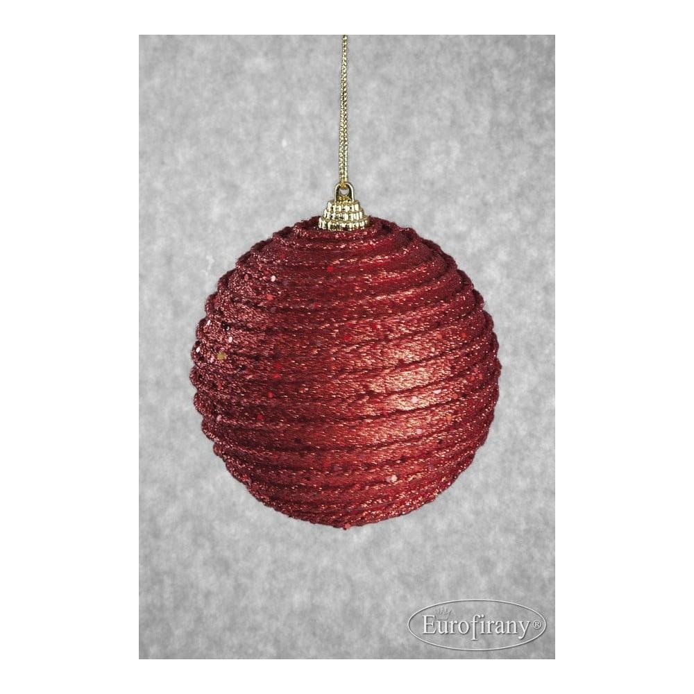 Sada 6 červených plastových vánočních ozdob DecoKing Rudolf
