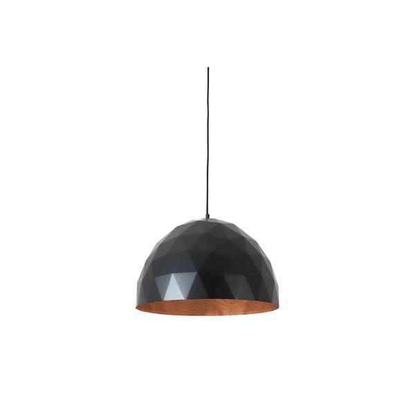 Leonard fekete függőlámpa rézszínű részletekkel, ø50 cm - Custom Form
