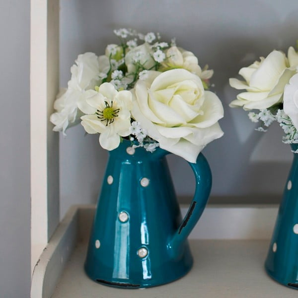 Keramický džbánek s umělou květinou Blue Polka, 36 cm