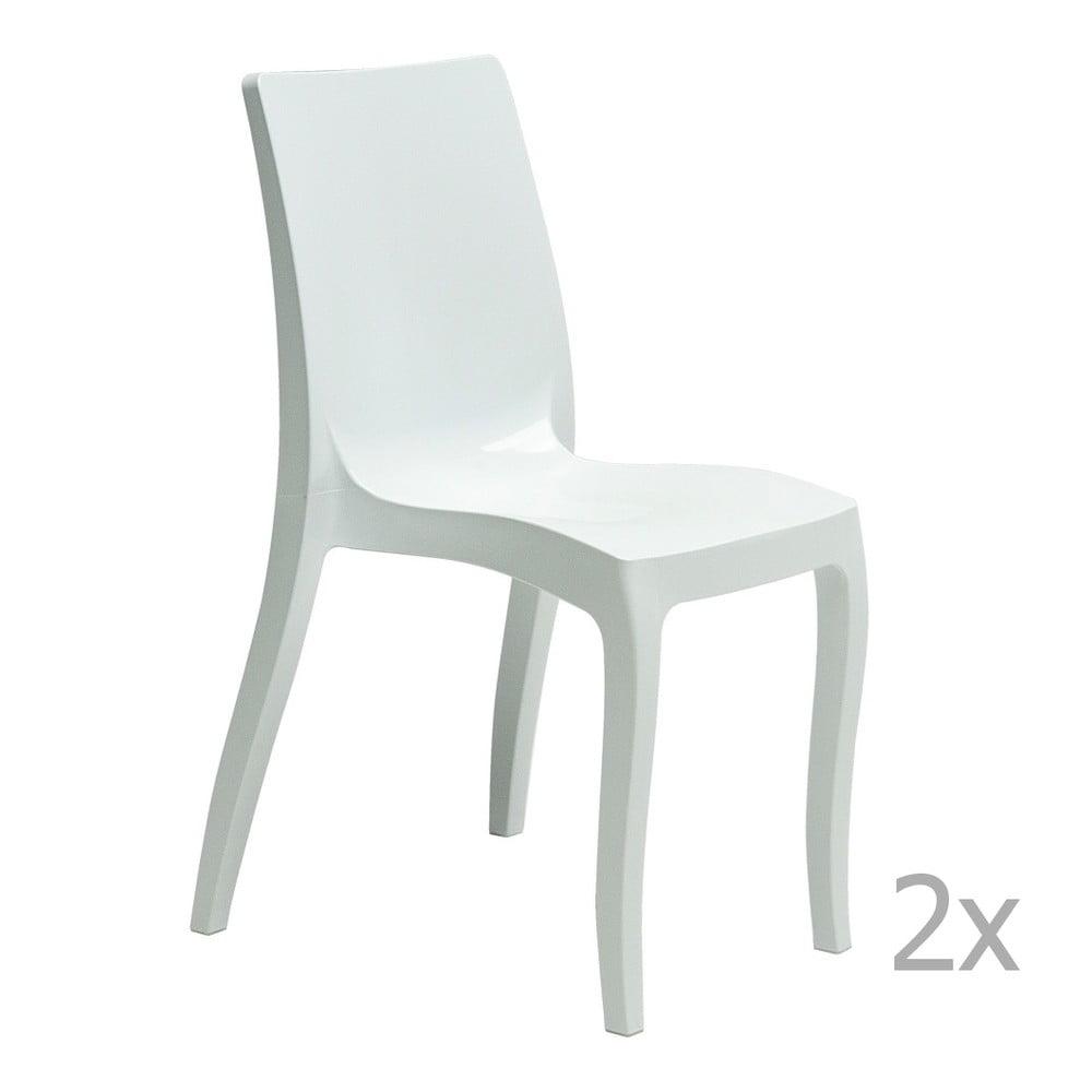 Sada 2 bílých jídelních židlí Castagnetti Fashion